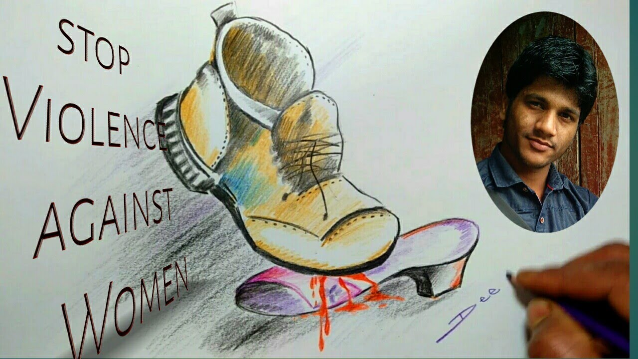 Pencil sketch of violence against women