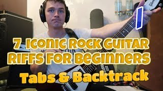 7 Iconic Rock Guitar Riffs For Beginners Tabs & Backtrack Part 1/2