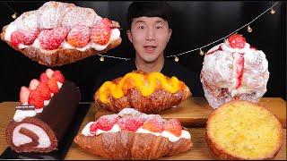 [SUB]딸기 초코 롤케이크,크림 팡도르 먹방(Stra…