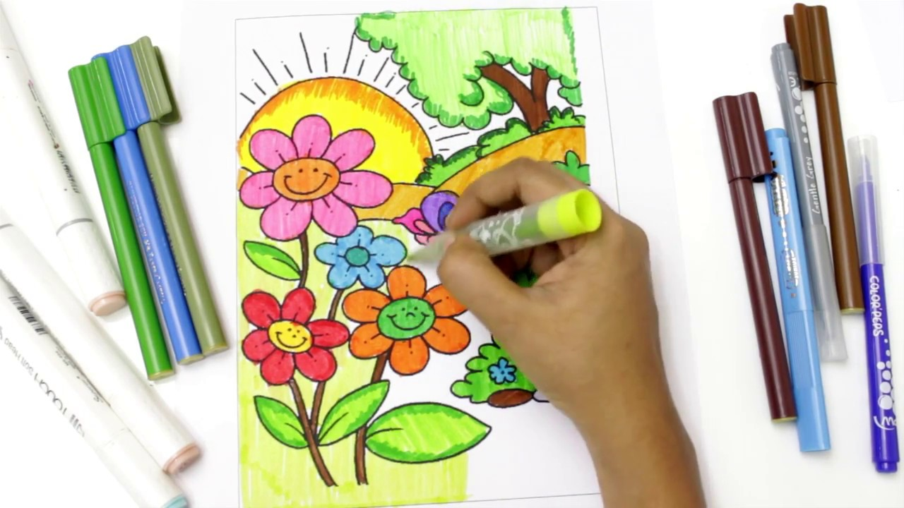 Flower Colouring Book And Drawing Flowers In Garden Colouring