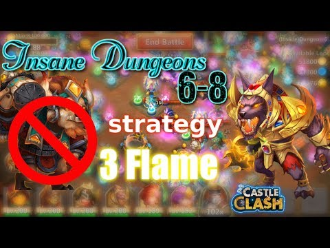 Castle Clash Insane Dungeon 6-8 3flame Strategy_ Without MINO