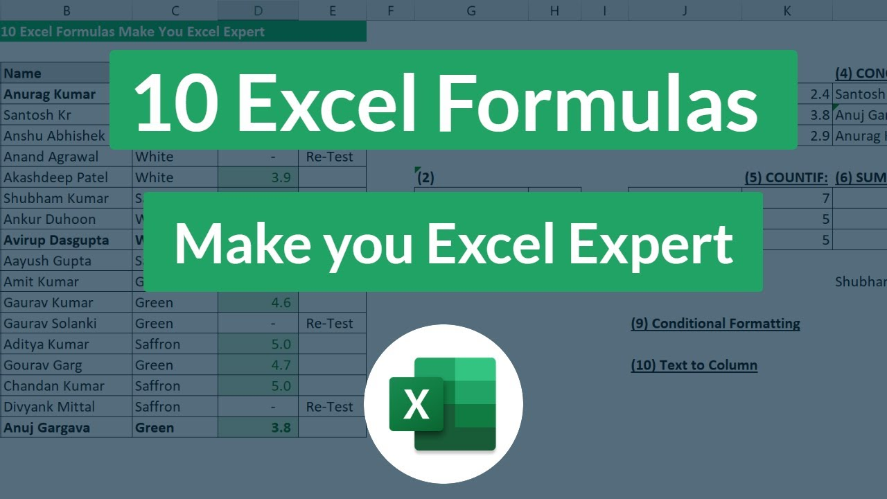 Ms Excel 2007 Formulas List With Examples Pdf