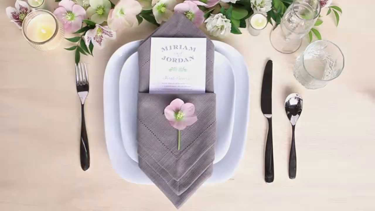Table Setting Tips: Menu Napkin Folds - Diamond Pouch Fold - YouTube