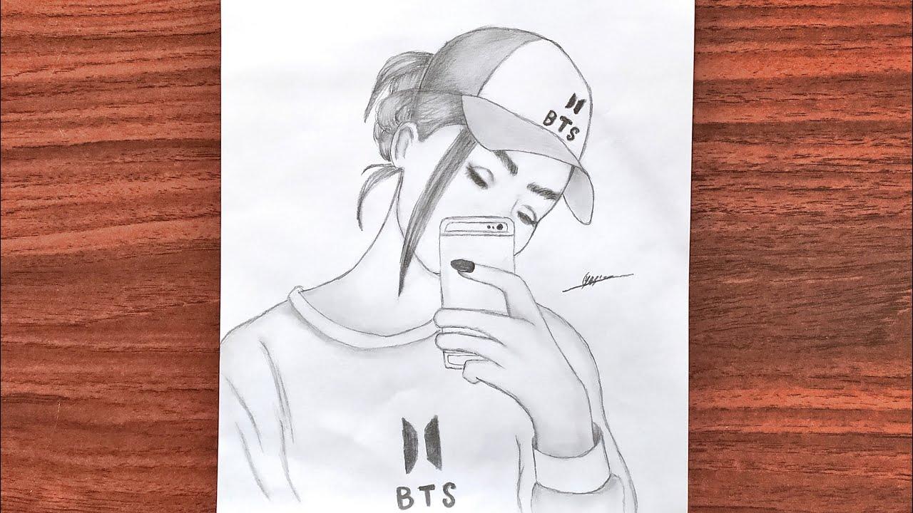 رسم سهل تعليم الرسم بنت من فرقة Bts كيبوب بالرصاص خطوة خطوة طريقة رسم وجه بنت كيوت تعليم الرسم Youtube