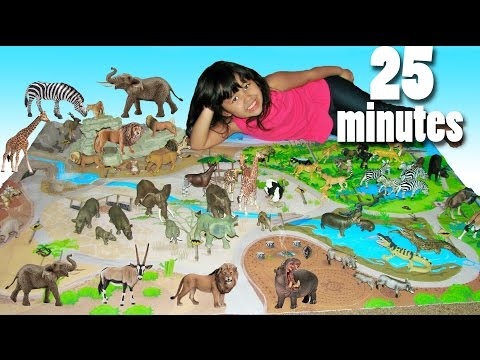 Educational Learn Animal Names and Sounds with Safari Playmat and Animal Toys