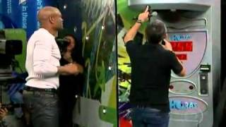 Anderson Silva measures his kick and punching power on live TV
