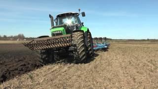 Deutz Fahr Agrotron X720 and 6 furrow Lemken plow for spring plowing outside Roma on Gotland in Apri