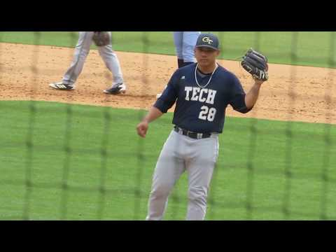 "5'8"" Georgia Tech pitcher Jared Datoc vs. North Carolina (4/21/18)"