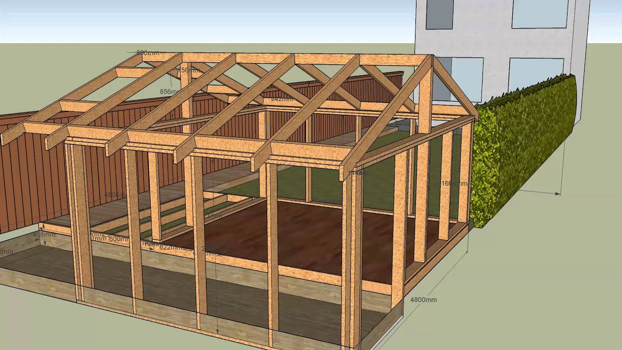 House with garden shed v5 frame v4 deck frame v1 roof v1 youtube - Build wood roof abcs roof framing ...