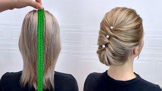 Прическа на короткие и тонкие волосы.  Быстрая прическа для девочек.  Красивые прически пошагово