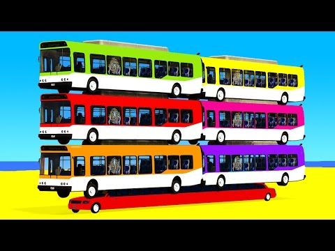 COLOR BUS on Long Car & Spiderman Cartoon for babies with Ca