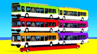 COLOR BUS on Long Car & Spiderman Cartoon for babies with Cars Superheroes for kids!