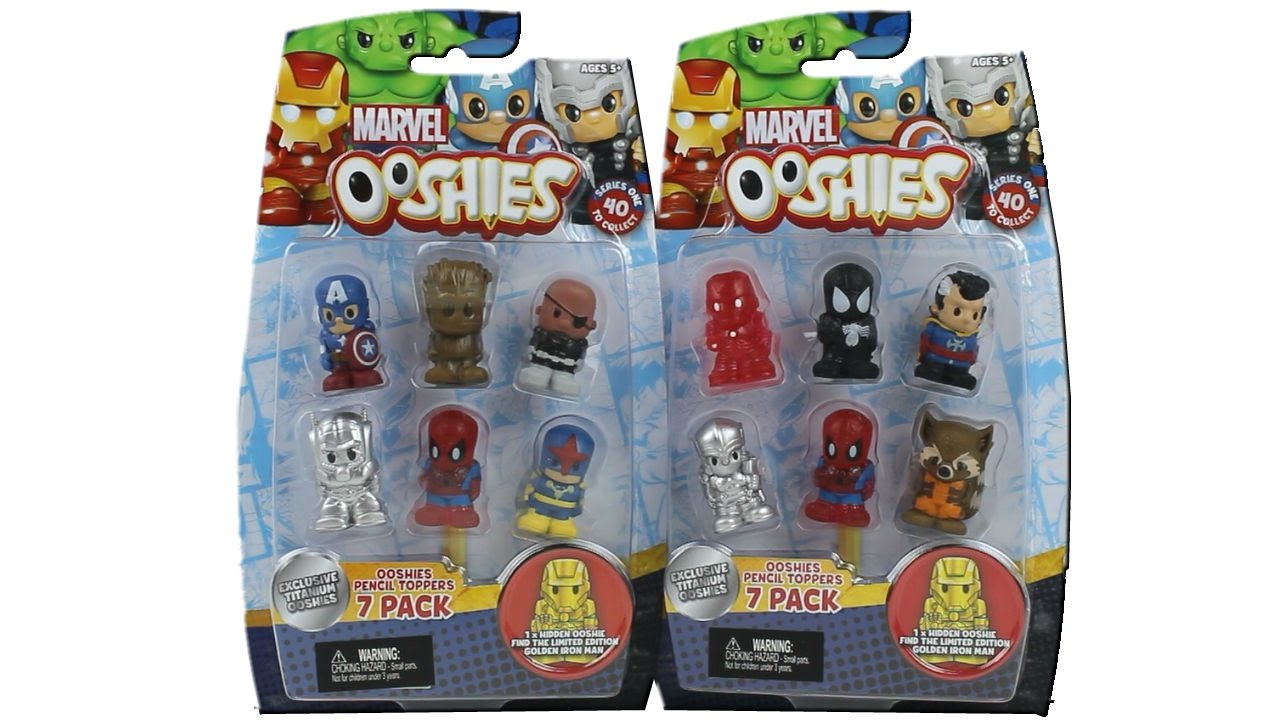 marvel ooshies 7 pack pencil toppers series 1 unboxing toy review youtube. Black Bedroom Furniture Sets. Home Design Ideas
