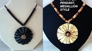 Diy Paper Jewelry, Paper Beads, Medallion Gift Wrap Paper Pendant