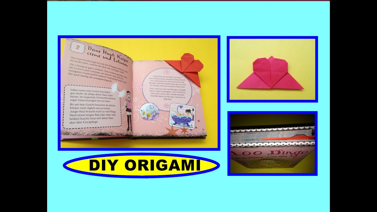 Papercraft DIY ORIGAMI BOOKMARK HEART QUICK EASY GIFT GUIDE, SIMPLE IDEAS, HERZ LESEZEICHEN GESCHENK