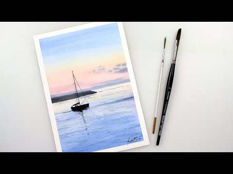 Watercolor SAILBOAT At SUNSET - SEASCAPE Easy Technique Painting