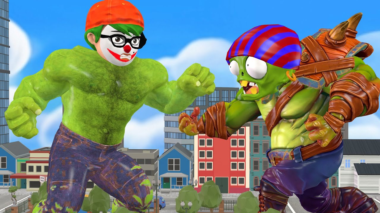 Scary teacher 3d Nickhulk vs Giant zombie with troll Miss T and hello neighbor Funny Gaming