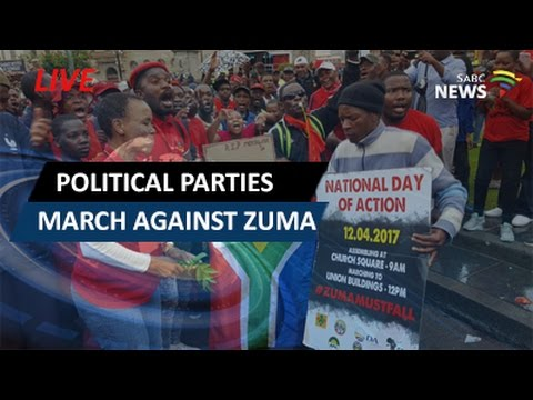 Political parties march to the Union Buildings against Zuma