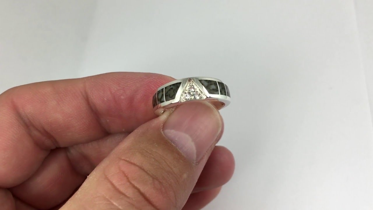 Dinosaur Bone Wedding Ring With White Sapphires