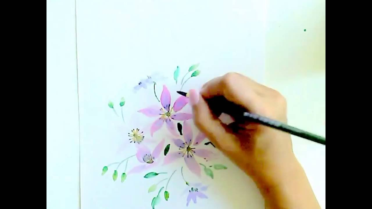 aquarell f r anf nger klematis malen watercolor for beginners clematis painting 3 youtube. Black Bedroom Furniture Sets. Home Design Ideas