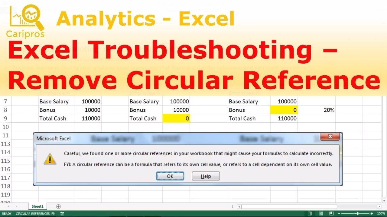Excel Troubleshooting : How to Remove Circular Reference