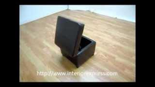 Interiorexpress Pandora Brown Leather Small Storage Ottoman With Wood Feet