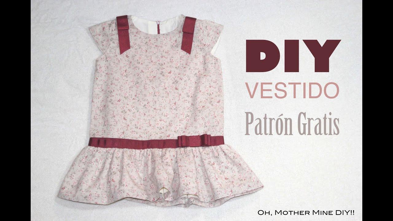 DIY Costura: Vestido de niña con cintura baja (patrón gratis) - YouTube