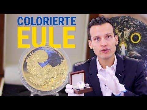 1 Unze Gold - Colorierte EULE als Polierte Platte - Nur 150 Stück