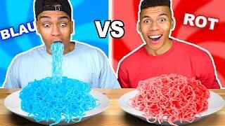 BLAUES ESSEN VS ROTES ESSEN CHALLENGE !!! | Kelvin und Marvin
