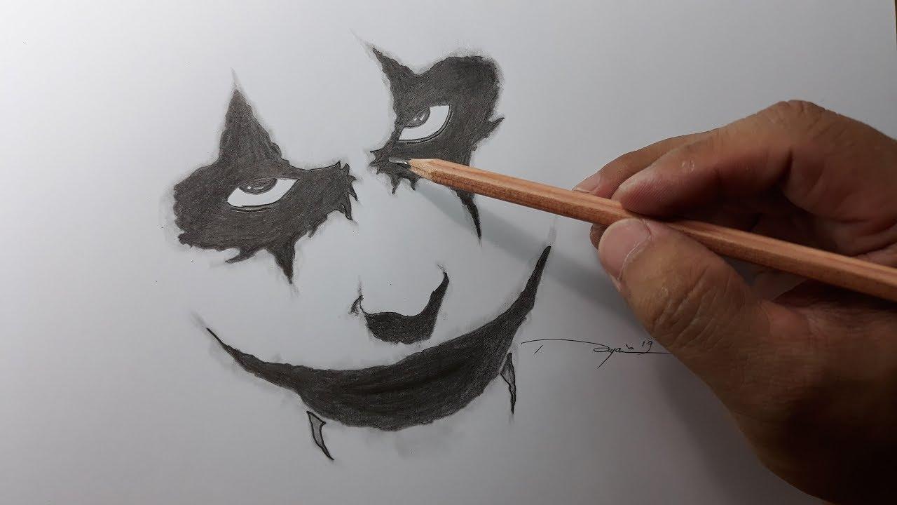 Cara Menggambar Menggambar The New Joker Menggunakan Pensil