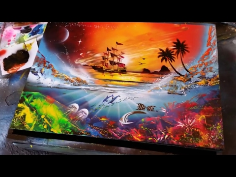 Sunset and reef spray paint