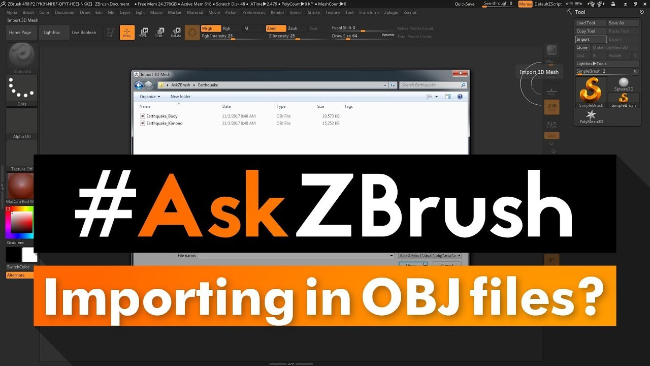 "#AskZBrush: ""What are the steps to import in two OBJ files and create a  single tool?"""