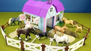 Horse Stable Barn Playset For Kids - Animals Toys Video