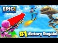 ROCKET RIDING MY BROTHER TO A SKY BASE in Fortnite: Battle Royale! *EPIC*
