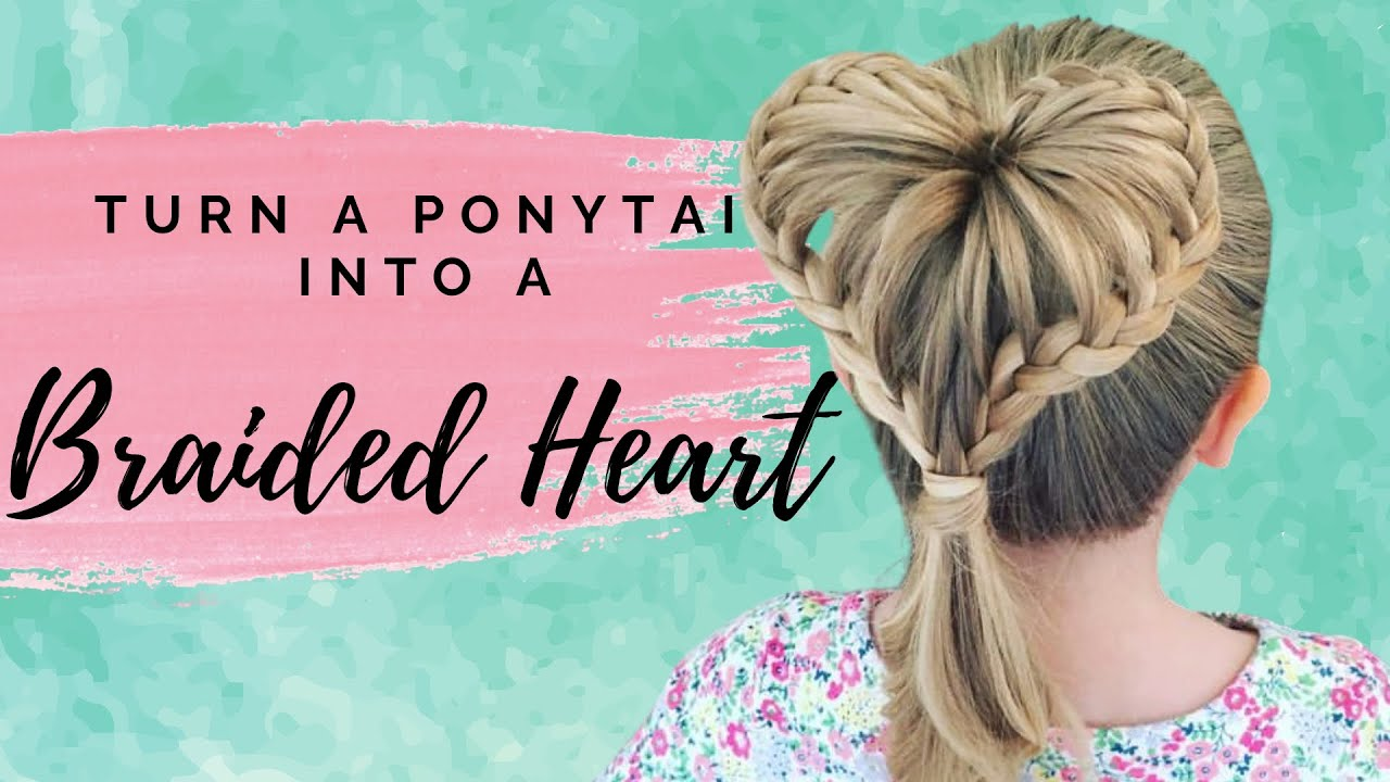 braided heart ponytail two little