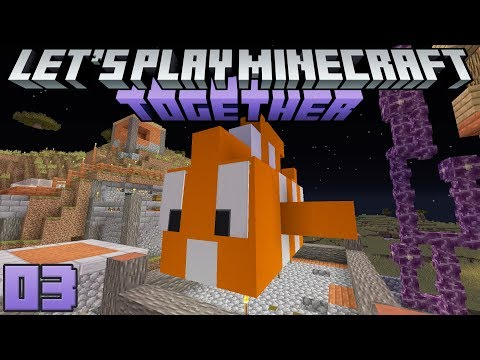 Let's Play Minecraft Together 03 Building Together & Setting Up Teams!