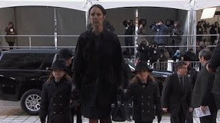 Celine Dion's 5-Year-Old Twins, 14-Year-Old Son Stay Strong at Funeral for Rene Angelil