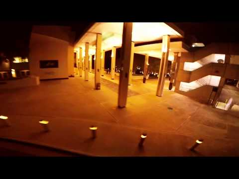 Flying around the theater and parking garage