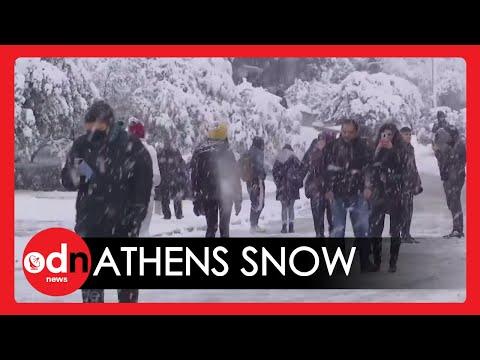 Heavy Snowfall Blankets Athens, Sending Greek Capital into Chaos
