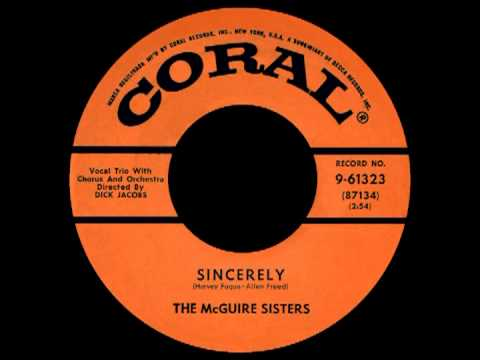 SINCERELY, The McGuire Sisters, Coral, #61323   1954