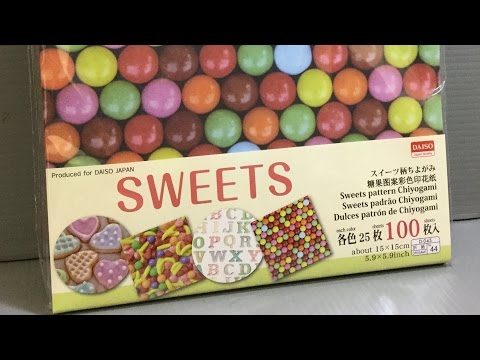 DAISO Sweets Pattern Chiyogami Origami Unboxing