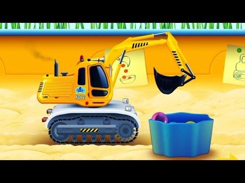 รถแม็คโครตักดิน แม็คโครตักลูกแก้วใส่ถัง วีดีโอสำหรับเด็ก น่ารักๆ Excavator kids