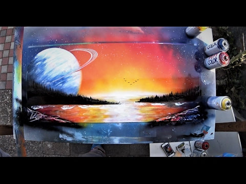 African Sunset Spray Paint Art By Sketch