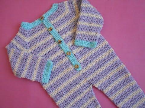 Crochet Crosia Crochet Baby Romperdungarees Tutorial Youtube