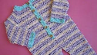 (Crochet-Crosia) Crochet Baby Romper/Dungarees tutorial