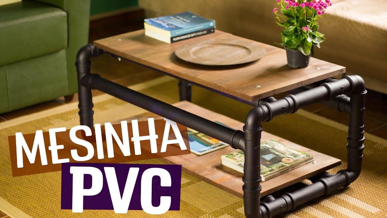 Diy mesa de centro de cano pvc youtube for Mesa de centro industrial