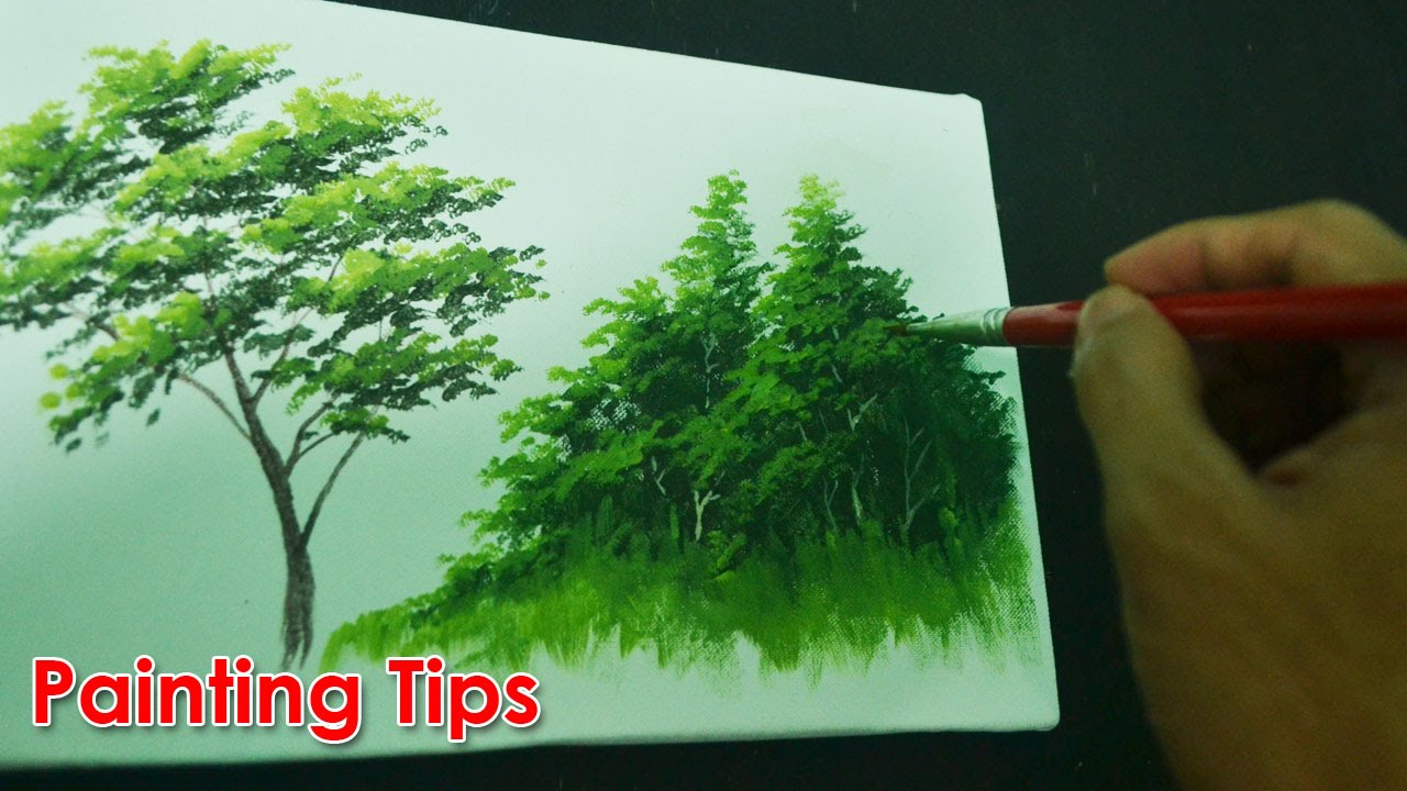 Acrylic Painting Lesson  How to Paint Tree Leaves by