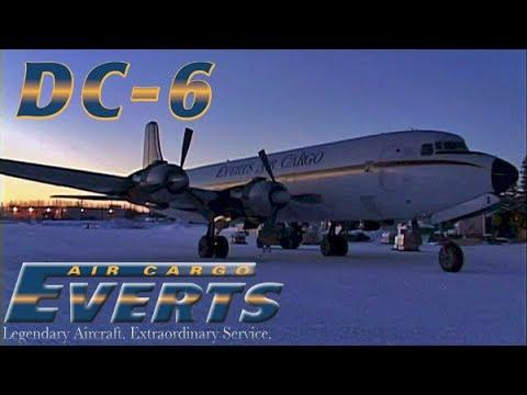 Alaska Winter Night DOUGLAS DC-6 Cockpit Flight (2007)