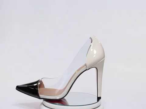 e9842f5b1 Scarpin Week Shoes Salto Alto Transparente Preto E Branco - R$ 149,90 em  Mercado Livre