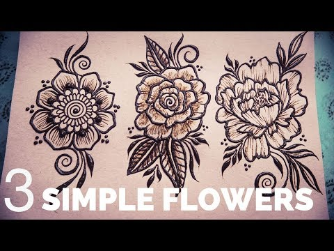 REAL TIME Henna Tutorial | 3 Simple Henna Flowers for BEGINNERS